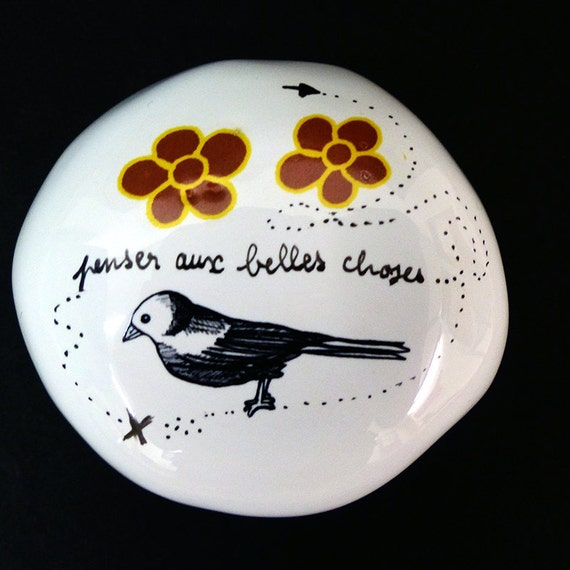 Ceramic pebble hand-painted - Think about beautiful things/ Collection