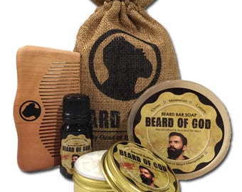 4PK Gift Set - Beard Butter + Oil + Bar Soap + Wood Comb & Sack by BEARD of GOD | Sample Pack | ORGANIC | 19 Scents | Made to Order Kit