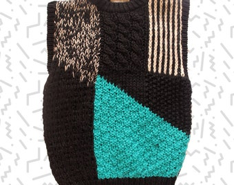 Abstract Hand Knitted Sleeveless Sweater