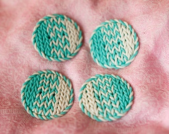 A set of 4 buttons of mint color, Polymer Clay buttons  for any piece of clothing, a unique knitted pattern.