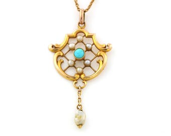 Beautiful Antique 9ct Gold, Turquoise & Pearl Lavalier Pendant with chain- Circa 1910
