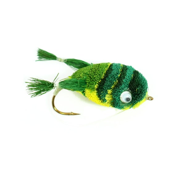 Bass Fly Fishing Bug: Deer Hair Legged Frog - Hook Size 2 - Premium Wide Gape Bass Hooks With Weed Guard