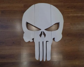 Wooden Punisher Head Wall Hanging White