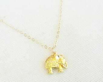 Elephant charm necklace- Gold elephant necklace- 18k gold plated over sterling silver- Good luck jewelry- Good fortune jewelry