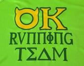 OK Running Team- perfect for fans running Half Marathon weekend! Glitter design on wicking running tank or cotton T