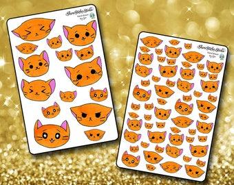 2 Dollar Tuesday Emoji KItty Stickers - Planner Stickers Erin Condren Life Planner Cute Kittycon Stickers ECLP Happy Planner Cat Stickers