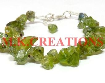 natural raw peridot rough gemstone beads bracelet - raw rough peridot beaded bracelet - 925 silver clasp - peridot raw rough tiny bracelet