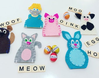 Custom felt puppet sets: made to order. small set (up to 5 felt finger puppets)