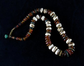 REDUCED PRICE - Amber, shell and antique stone beads necklace