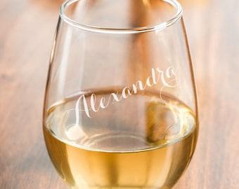 Set of 4 - 15 oz Script Personalized Stemless Wine Glass (MICDJM7460894-D15OZ)