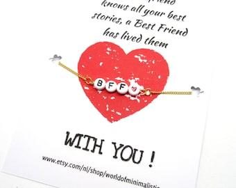 Letter bracelet minimalist bracelet BFF bracelet BFF gift best friends bracelet friendship bracelet sorority bracelet dainty bracelet