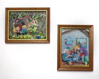Pair of Vintage Framed Lenticular 3D Fairy Tale Prints