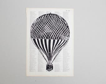 Linocut hot air balloon tab
