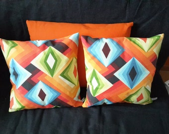 Pillow cover colorful psychedelic dominance orange or Green Apple in the seventies spirit