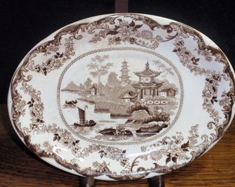 Brown Transferware  Asian Oval Plate