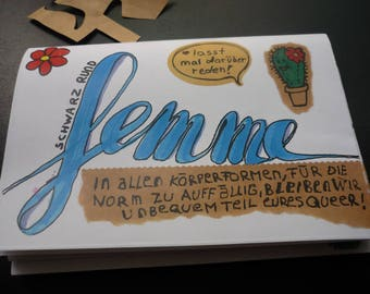 Femme colorful zine with texts mini posters and 1 Cactus!  Oueer femme