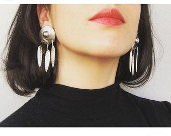 Vintage Mexican Sterling Silver Dangling Post Earrings