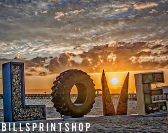 LOVE at the BEACH / Cape Charles, Virginia / Sunset + Waterfront + Outdoor + Beach + Color Photography / Fine Art Print + Aluminum + Canvas