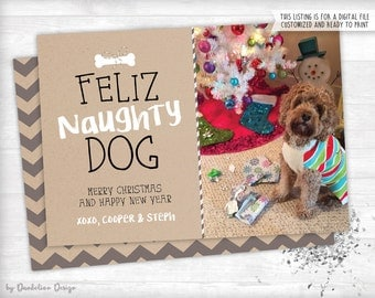 Feliz Naughty Dog Photo Christmas Card Printable