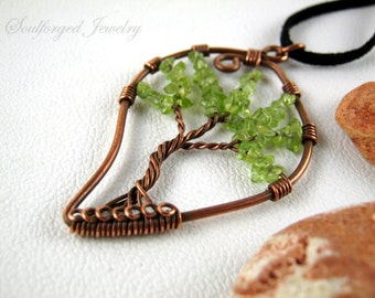 """Copper wire """"green leaf"""" tree of life statement pendant with patina and green peridot chips"""