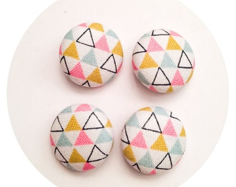 Sewing Buttons / 4 Colorful Triangle Pattern Fabric Covered Buttons