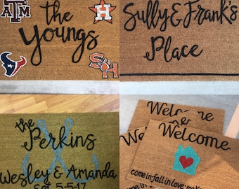 YOU CHOOSE DESIGN | Personalized Door Mat | Free-Hand Painted