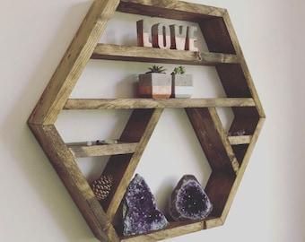 The Crystal moon - Crystal display shelf, hexagon shelf, display shelf, crystals, gems shelf, reiki, moon phase, chakra