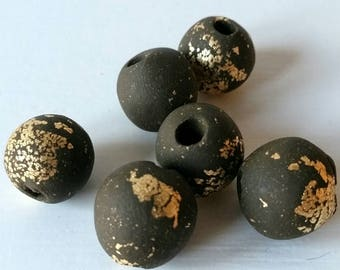 Chunky chocolate brown and gold polymer clay beads