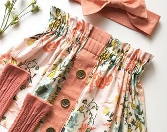 Girl's Spring Skirt, Buttons in a Row, High Waisted Skirt, Toddler, Sister Set , Vintage Style Skirt,  Easter Outfit,  Custom Skirt