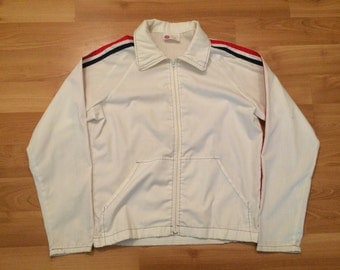 Medium 80's Sear's Kings Road men's vintage track jacket white red blue zipper collar 1980's