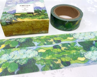 Wheat Field with Cypresses washi tape 7M Van Gogh oil painting Washi masking tape countryside landscape green leaf blue cloud sticker tape