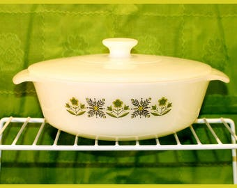 New /Old Fire King Meadow Green Casserole #436 1 Quart Covered Baking Dish Unused Vintage Item - 1950's