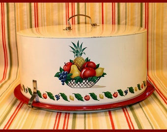 Decoware Tin Cake Saver - Cake Keeper - Cake Carrier, Fruit Basket Design, Vintage 40's - 50's