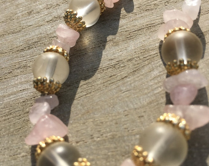 Rose Quartz bracelet with Frosted Beads and Gold Caps