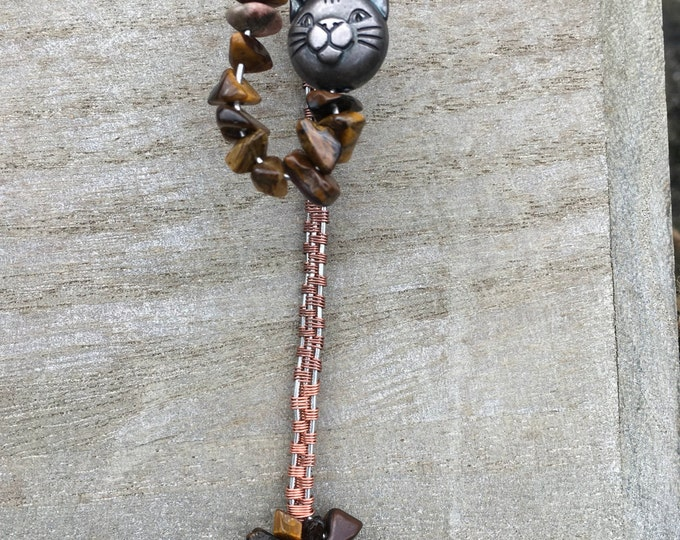 Tigers Eye Copper Wire Bookmark with a cute cat charm