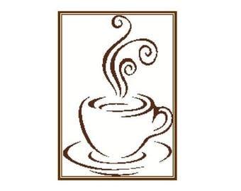 Coffee silhouette cross stitch pattern in pdf