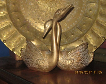 A Loving Pair of Brass Swan Planters