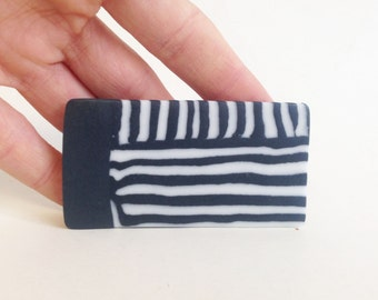 black and white striped porcelain brooch