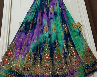Ladies Boho Hippie Gypsy Long Skirt Party Sequin Rayon Tie Dye Block Painted Aqua Green/Blue/Purple Handmade UK Size 8 10 12 14 16 18 20 22