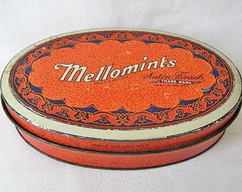 Vintage Brandle & Smith Oval Mellomints Candy Tin c. 1930