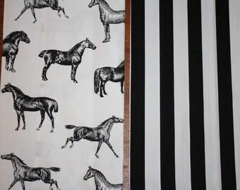 HORSE Tea Towel with Black & White Stripe - set of 2 Large