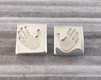 hand crafted silver hand or foot print cufflinks