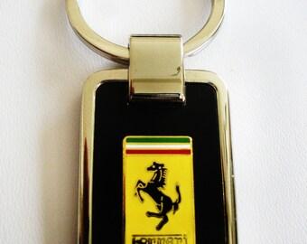 Ferrari Black Onyx & Silver Keychain
