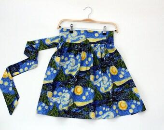 Starry Night half apron, Starry night apron, van gogh apron, half apron, aprons for sale, aprons for women, gathered half aprons, cute apron