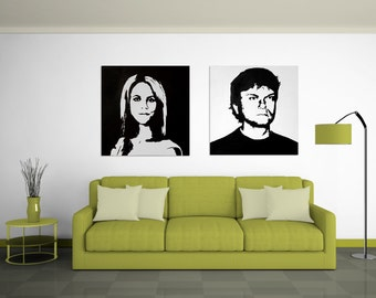 Custom Painted Graphic Portraits on Canvas