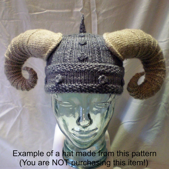 Knitting Patterns For Viking Hat : Knitting Pattern Horned Viking Hat with Braids, Viking Helmet Knitting Patter...