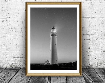 Lighthouse Print, Black and White Lighthouse Photo, Printable Art, Home Decor, Prints, Instant Download, Last Minute Gift, Wall Art Decor