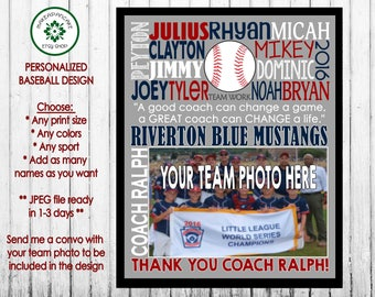 BASEBALL COACH Gift ~ Baseball Team Gift ~ Baseball Thank You Gift ~ Baseball Coach Thank You ~ Jpeg Printable