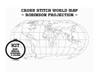 world map printed cross-stitch kit / robinson projection / personalized travel map / easy pattern / the perfect gift