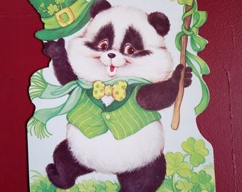 Vintage St. Patrick's Day Decorations, Dancing Panda Bear, the Personality Bears, Eureka USA
